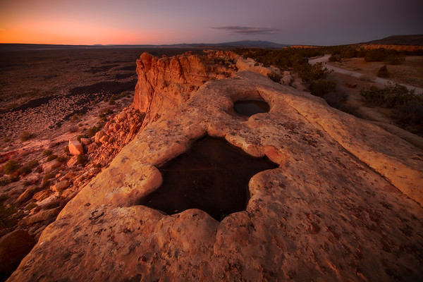 Late Twilight Reflects Onto Sandstone Bluffs_30x20 - El Malpais National Monument, Grants, New Mexico