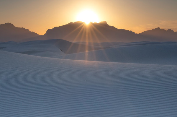 Sunburst Over The White Dunes - White Sands National Monument, New Mexico