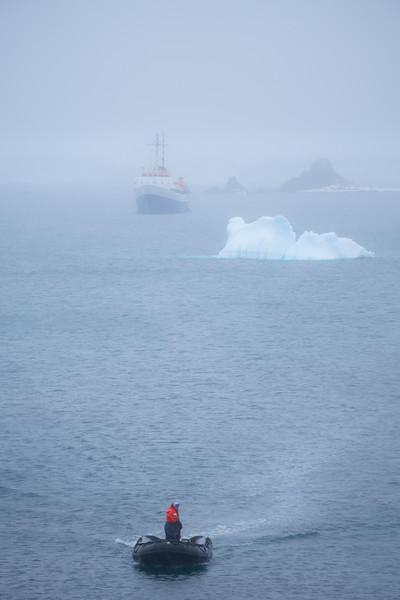 Zodiac In The Mist Barrientos Island in the South Shetlands, Antarctica Peninsula, Antarctica