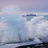 Ship And Frozen Ice Sculpture  -  Brown Bluff, Tabarin Peninsula,  Northern Antarctica