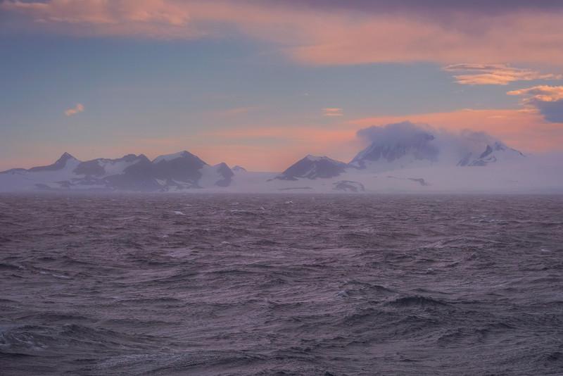 Stunning Sunset Over The Land Mountains - Iceberg Alley , Hope Bay,  Antarctica Sound,  Antarctica
