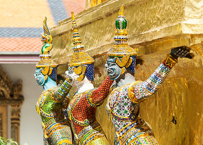 Bangkok, Grand Palace, Green Demon Guards statues