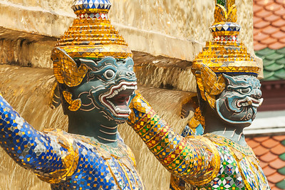 Bangkok, Grand Palace, Green Demon Guards statues
