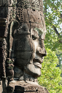 Carved Head At Bayon Temple, Angkor Thom, Cambodia