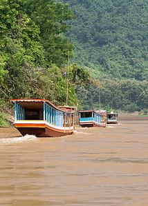 Boats On The Mekong River , Laos