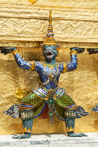Bangkok, Grand Palace, Green Demon Guards statue