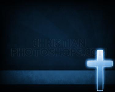 Blue glowing cross