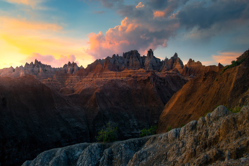 Last Of Light Across The Top Of The Peaks - Badlands National Park, South Dakota
