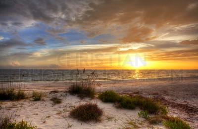 Sandy beach with sunset
