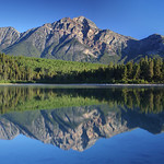 The still waters of Pyramid Lake in Jasper National Park