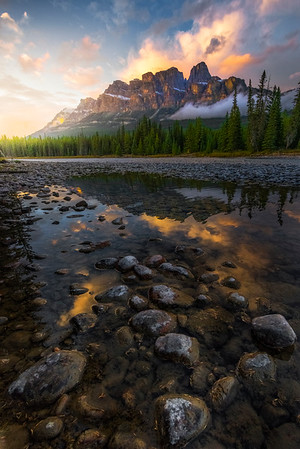 Castle Rock Sidelight Near Sunset Castle Rock, Banff National Park, Alberta, Canada