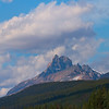 The unique shape of Castle mountain can be seen from the Trans Canada Highway