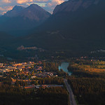 The town of Banff and Mount Rundle from above on Nordegg Pass