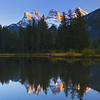 The tall peaks of the Three Sisters outside Canmore