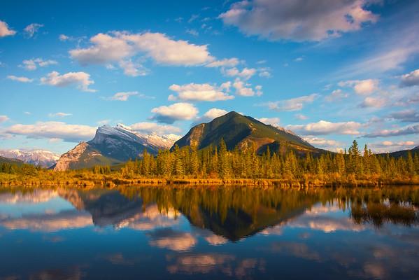 Vermillion Lakes Sunset With Mt Rundle - Vermillion Lakes, Banff National Park, AB, Canada