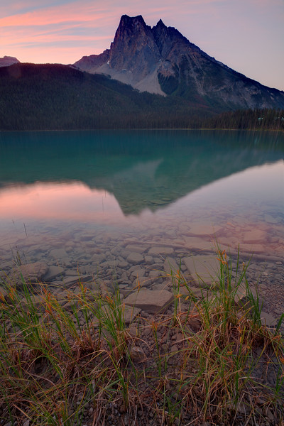 Emerald Lake in Yoho National Park during the peak of summer season
