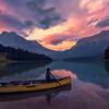 Heading Out Into Emerald Lake At Sunset - Emerald Lake, Yoho National Park, BC, Canada