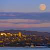 Full Moon Over Surrounding Area Of Vancouver - Stanley Park Seawall, Vancouver, BC, Canada