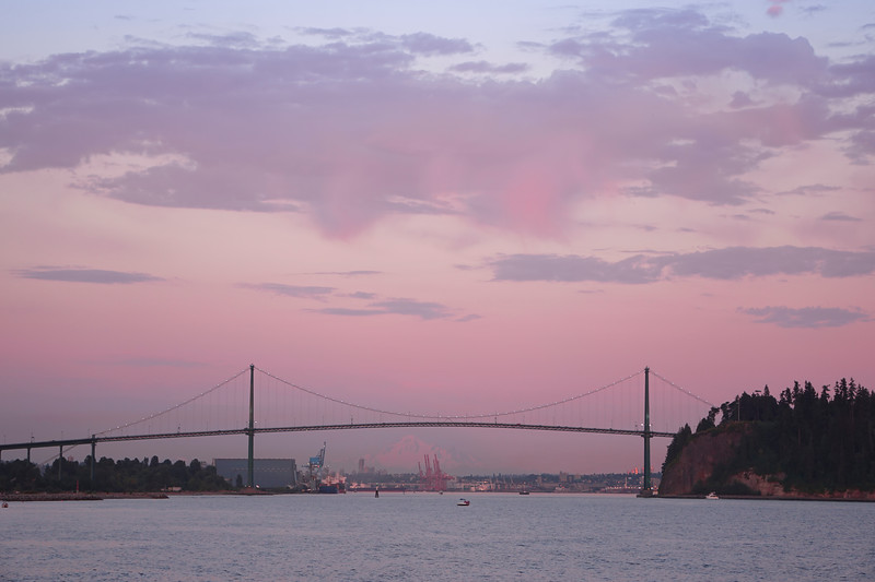 The Twilight Hour Above The Lions Gate Bridge - West Vancouver, British Columbia, Canada