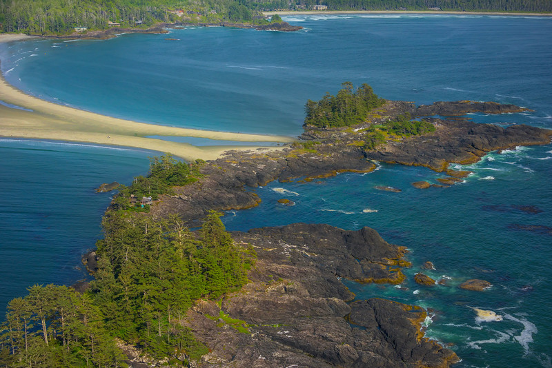 Frank Island And Chesterman Beach At The Horseshoe Clayoquot Sound ,Tofino, and Ucluelet By Air,  Vancouver Island, BC, Canada