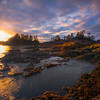 Frank Island Sunset Explosion Chesterman Beach, Tofino,  Vancouver Island, BC, Canada