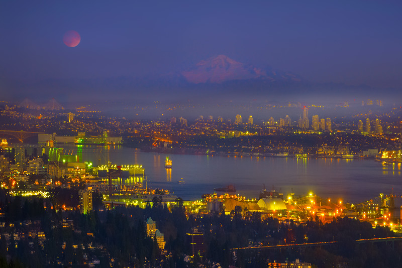 Mount Baker And The Blood Moon - Vancouver City Skyline, North Shore, BC, Canada