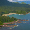 Inlet Cove At Backdrop Of Mountain Clayoquot Sound ,Tofino, and Ucluelet By Air,  Vancouver Island, BC, Canada