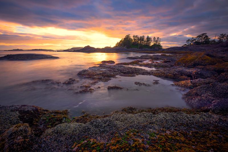 Sun Setting On Frank Island And Chesterman Beach Chesterman Beach, Tofino,  Vancouver Island, BC, Canada