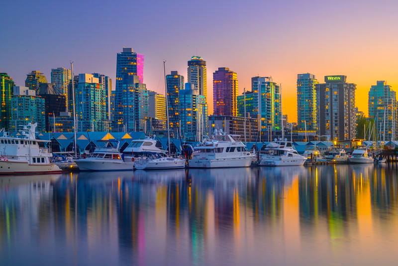 Vancouver Harbor Golden Sunset - Stanley Park Seawall, Vancouver, BC, Canada