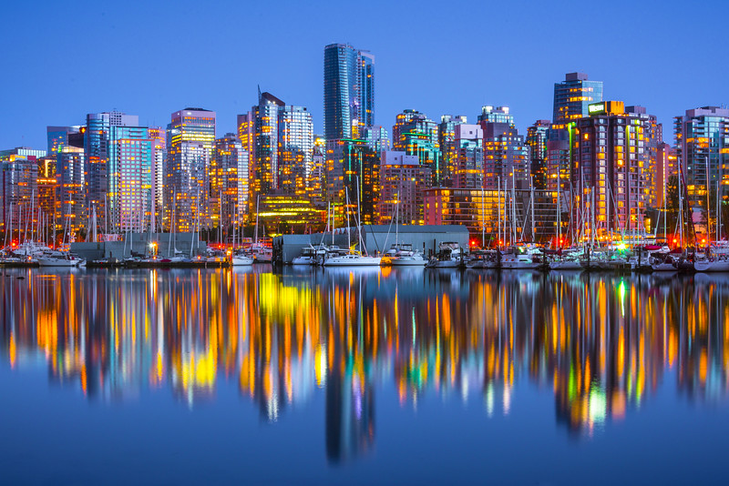 Vancouver Marina And City Skyline Near Dark - Stanley Park Seawall, Vancouver, BC, Canada