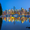 Vancouver City At The Blue Hour - Stanley Park Seawall, Vancouver, BC, Canada