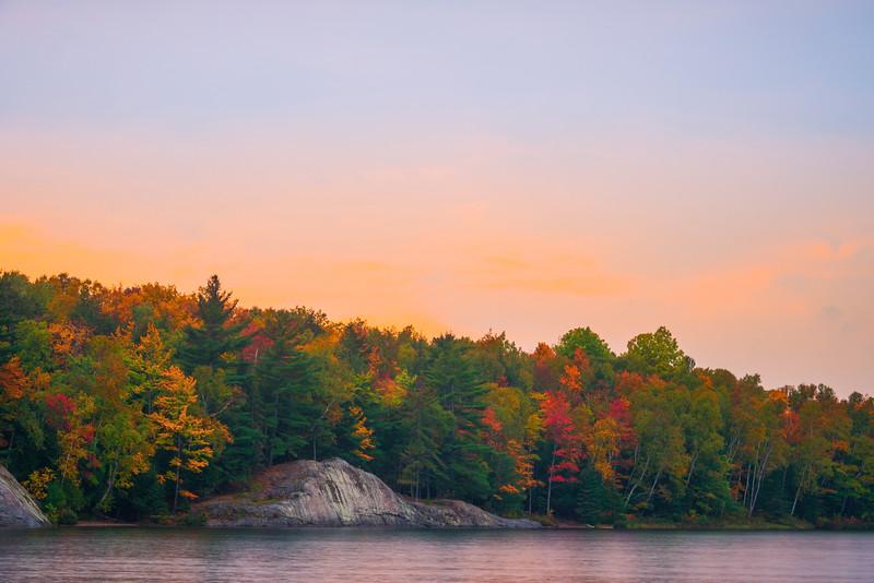 Sunset Starting Along Lake George Shoreline - Algonquin Provincial Park, Nipissing, South Part, Ontario, Canada