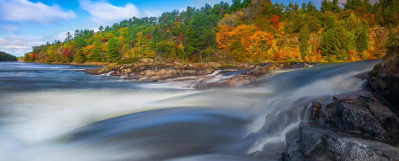 At The Base Of The Falls With Backdrop Of Autumn_Pano