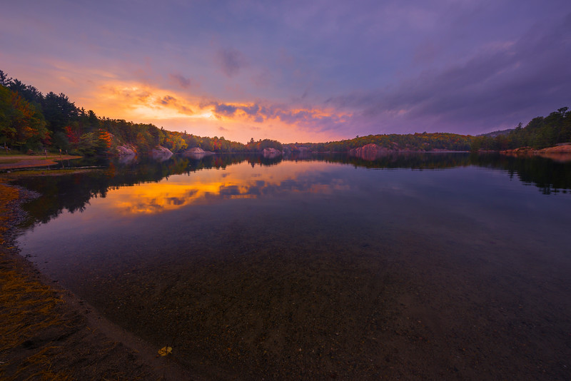 Sunset Over The Lake In Rainstorm - Algonquin Provincial Park, Nipissing, South Part, Ontario, Canada