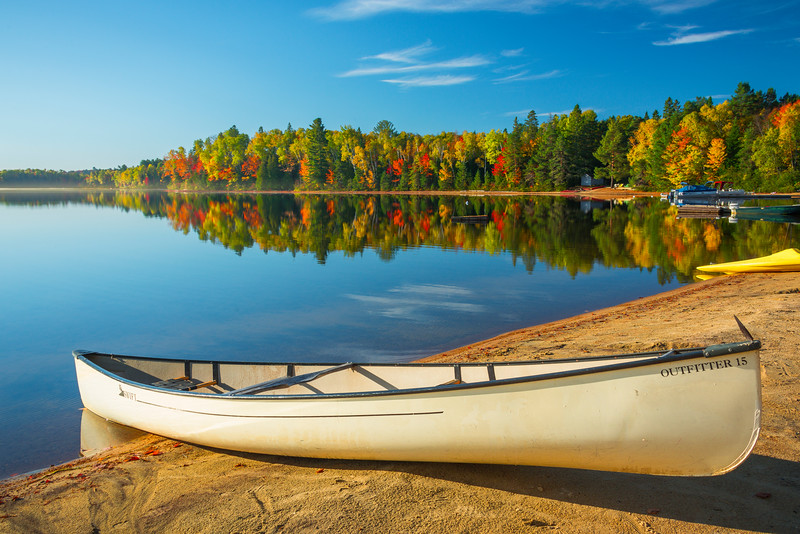 An Early Morning Canoe On The Lake - Algonquin Provincial Park, Nipissing, South Part, Ontario, Canada