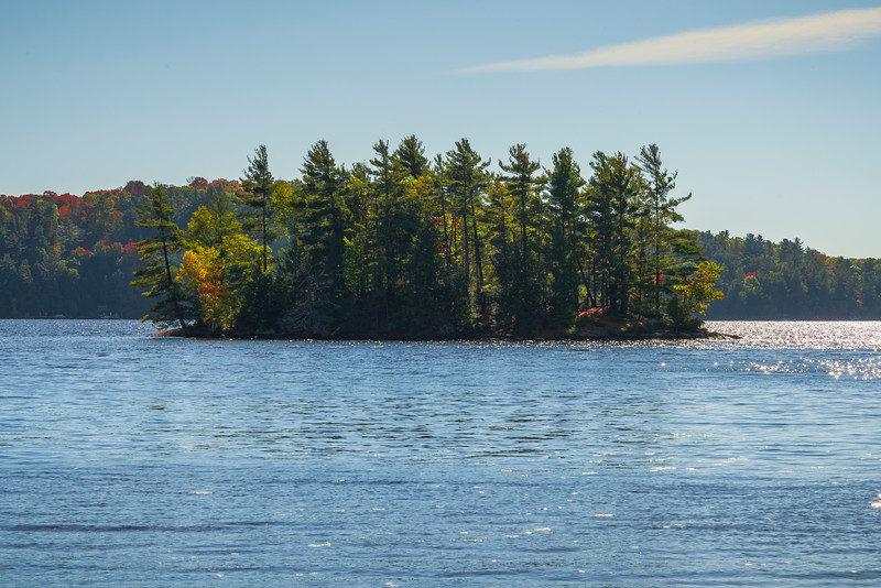Lawrence Island On Mary Lake In Start Of Fall - Algonquin Provincial Park, Nipissing, South Part, Ontario, Canada