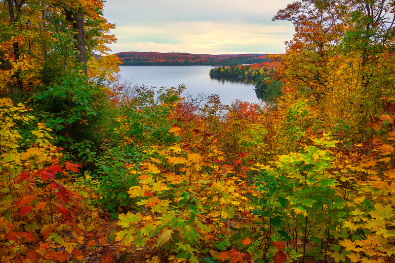 Looking Down On Lake From Upper Trail - Algonquin Provincial Park, Nipissing, South Part, Ontario, Canada