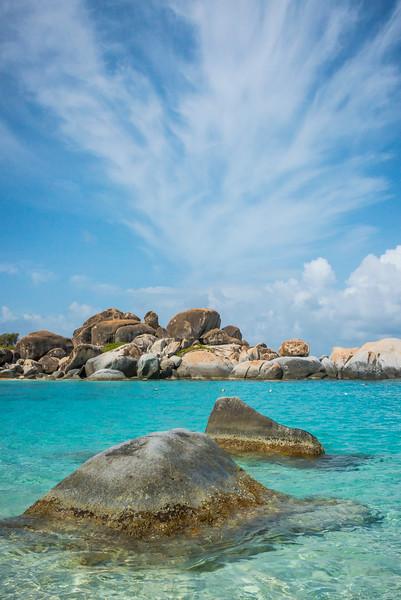 Rocks And Blue Water In The Baths - The Baths, Virgin Gorda, British Virgin Islands, Caribbean