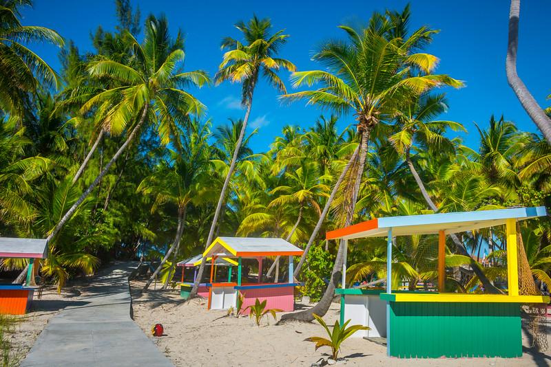 A Lineup Of Huts In The Bahamas Islands - Salt Kay, Bahamas, Caribbean