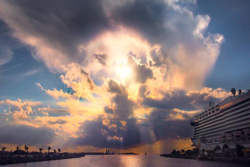 Cruise Ship Sailaway Sunset