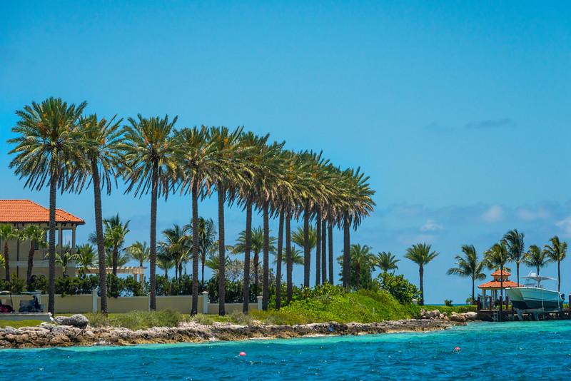 Alongside The Inlet With Palm Trees - Nassau, Bahamas, Caribbean