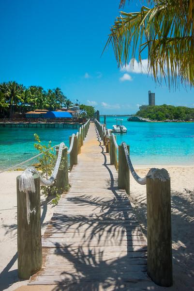 The Walking Pier Into Blue Waters - Salt Kay, Bahamas, Caribbean