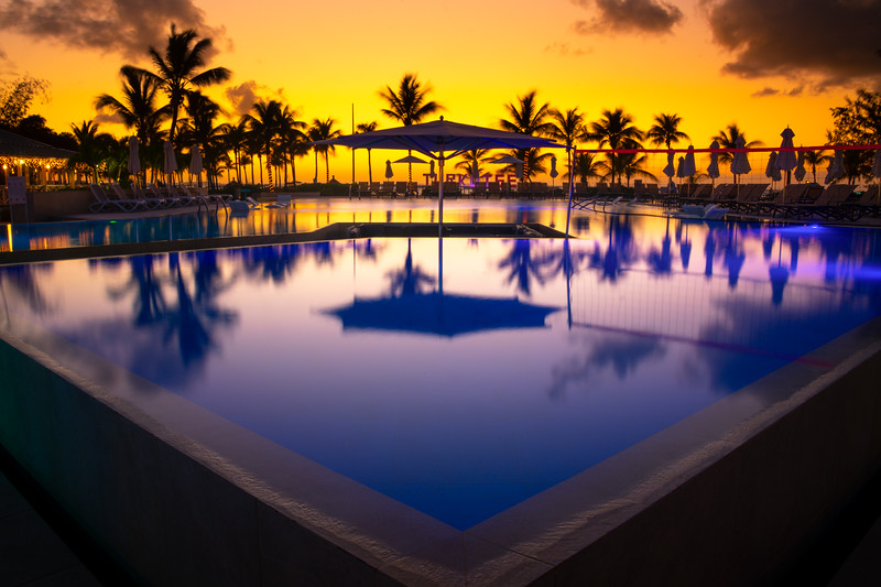 After Sunset Reflections On The Pool