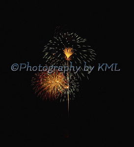 a firework display in the dark