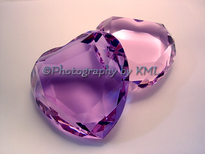 two crystal hearts