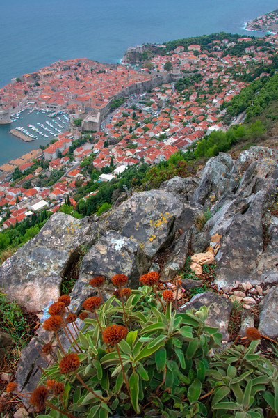 Hillside Decorations Looking Down On Old Dubrovnik - Dubrovnik, Croatia