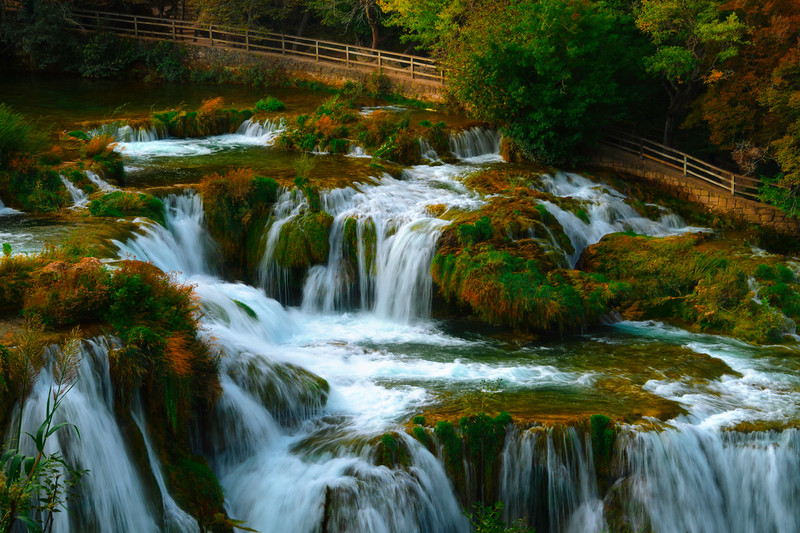 A Closer Look At The Colliding Cascades - Krka National Park, Split, Croatia