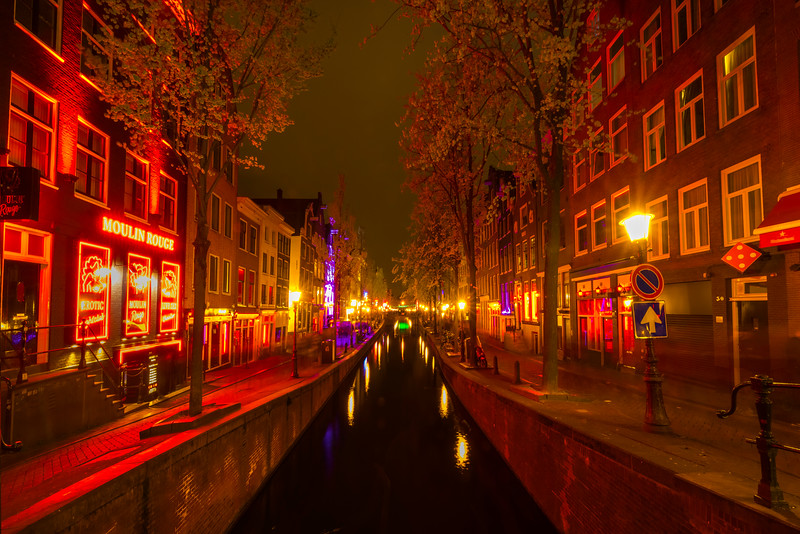The Famous Red Light District At Night