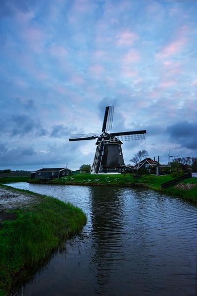 Pink Twilight Skies Above Windmill