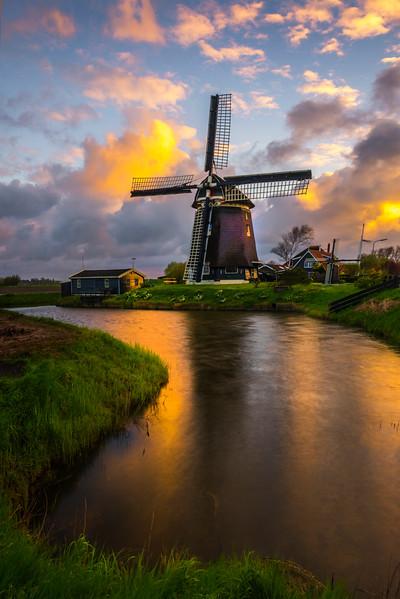 Sunset Peak Behind The Windmill